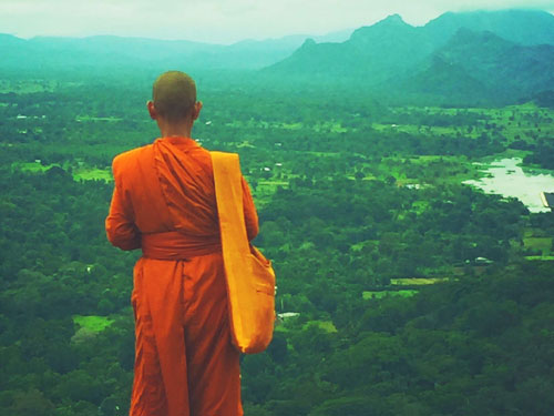 Monk at Sigiriya Rock