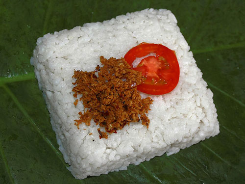 Dessert of traditional Kiribath Milk Rice from Sri Lanka
