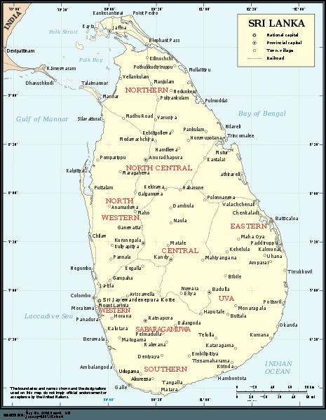 Network of railway lines in Sri Lanka