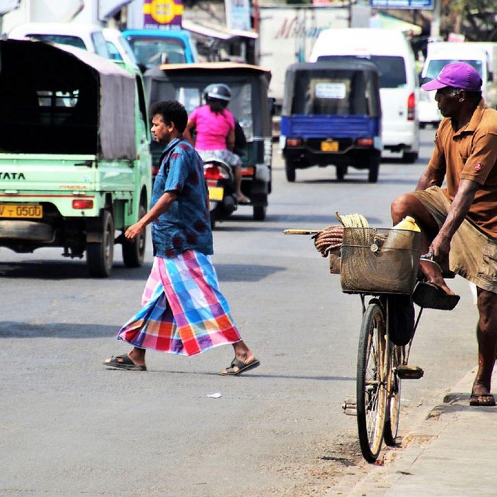 Transport in Sri Lanka on busy street