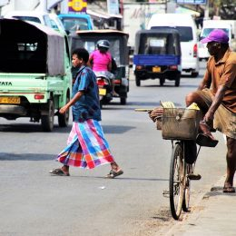 Transport in Sri Lanka on busy street