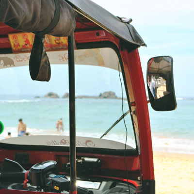 Tuk Tuk standing at a beach in Sri Lanka