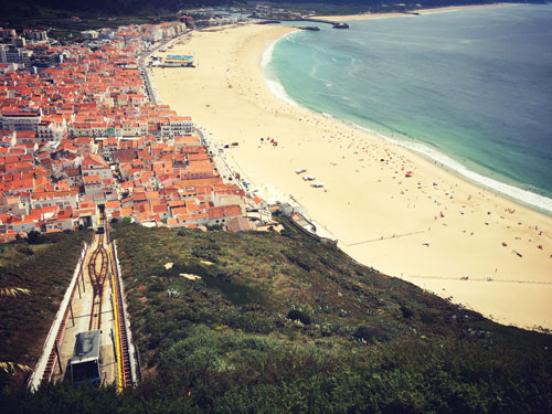 Beach of Nazare during summer
