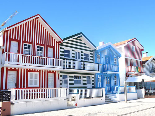 Colored houses in Aveiro Portugal