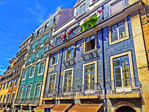 Houses with colorful tiles in Lisbon