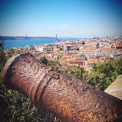 Panoramic view over Lisbon from old castle
