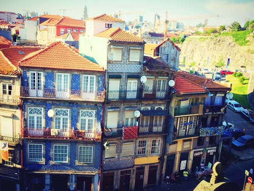 Skyline of Porto with tiled house facades
