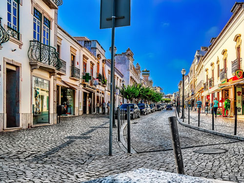 Cute street and houses in Tavira old town